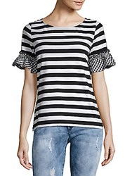 August Silk Gingham Ruffle Trim Tee Black White