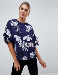 Ax Paris Floral Printed Blouse Navy