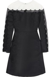 Mikael Aghal Mesh Paneled Twill Dress Black