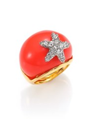 Kenneth Jay Lane Starfish Resin Ring Gold Coral