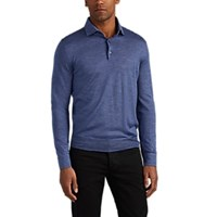 Isaia Knit Cashmere Silk Polo Shirt Navy