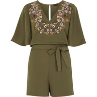 River Island Womens Khaki Green Embroidered Satin Playsuit