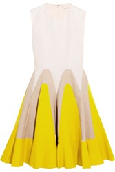 Delpozo Linen Paneled Cotton Poplin Mini Dress Yellow