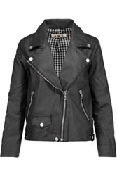 Amo Rizzo Coated Stretch Cotton Biker Jacket Charcoal