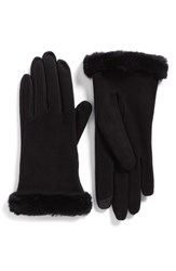 Uggr Women's Ugg Classic Suede Tech Gloves With Genuine Shearling Trim Black