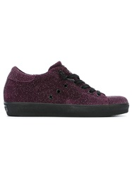 Leather Crown Lace Up Trainers Pink And Purple