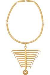 Paula Mendoza The Backbone Gold Plated Necklace Metallic