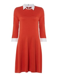 Dickins And Jones Katherine Knitted Fit Flare Dress Orange