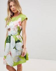 ae9ab51d8ba3c8 Ted Baker Lynetta Skater Dress In Chatsworth Bloom Lt Green Multi