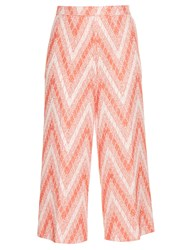 Rochas Chevron Woven Cropped Trousers Red White