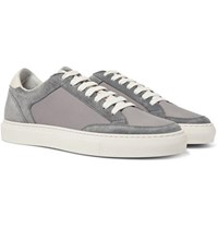 Brunello Cucinelli Leather Trimmed Suede And Ripstop Sneakers Gray