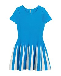 Milly Minis Pleated Contrast Flare Dress Blue