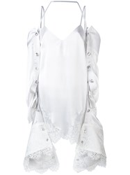 Y Project Removable Elongated Sleeves Blouse Women Silk Polyamide Rayon 38 White