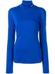 Calvin Klein Roll Neck Knitted Top Blue