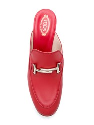 Tod's Chunky Heeled Mules Leather Red