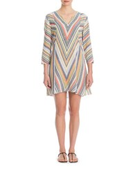 Nic Zoe Plus Three Quarter Sleeve Chevron Tunic Beige Multi