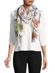Collection 18 Floral Print Scarf White