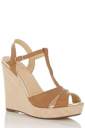 Oasis Wallis Basket Weave Wedge Tan