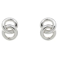 Monet Double Ring Stud Earrings Silver