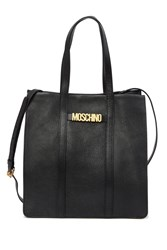 Moschino Textured Leather Tote Bag Black