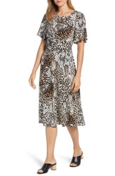 Chaus Exotic Animal Print Ruched Midi Dress Antiq White