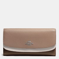 Coach Double Flap Wallet In Colorblock Leather Silver Stone Multi