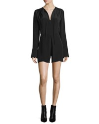 Derek Lam Long Sleeve Split Neck Romper Black