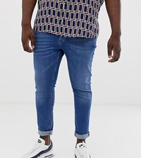 River Island Big And Tall Jeans In Mid Blue Wash