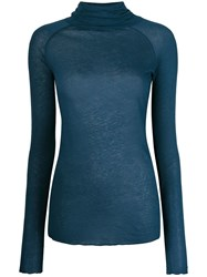 Humanoid Roll Neck Raglan Long Sleeve Top Blue