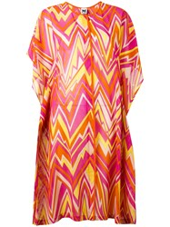 M Missoni Zigzag Print Shift Dress Pink Purple