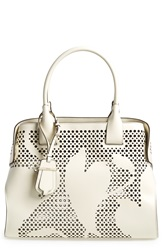 Tod's Perforated Leather Satchel Cream White