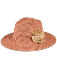 August Hats Flower Fields Large Fedora Natural Salmon