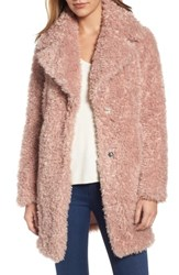 Kensie Women's 'Teddy Bear' Notch Collar Faux Fur Coat Blush