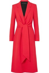 Roland Mouret Hollywell Belted Wool Crepe Coat Red