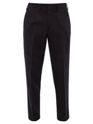 The Gigi Pleated Houndstooth Check Trousers Navy Multi