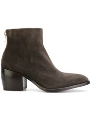 Rocco P. Rear Zip Boots Leather Suede 39.5 Brown
