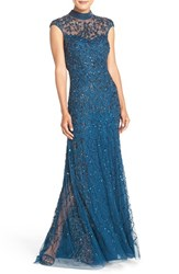 Adrianna Papell Women's Embellished Mesh Gown Teal Crush