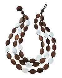 Tiger Wood And Mother Of Pearl Triple Strand Necklace Viktoria Hayman