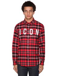 Dsquared Icon Print Cotton Blend Shirt Red