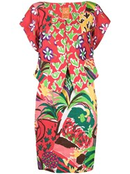 Christian Lacroix Vintage Floral Skirt And Blouse Red