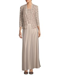 Alex Evenings Lace Blouson Gown With Matching Lace Cardigan Champagne