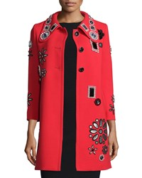 Marc Jacobs Jewel Embellished 3 4 Sleeve Wool Coat Red