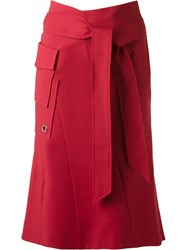 Giuliana Romanno Panelled Mid Length Skirt Red