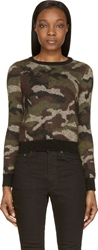 Saint Laurent Military Green Camo Print Cropped Sweater