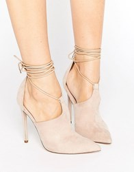 Asos Pandemonium Lace Up Pointed Heels Nude Beige