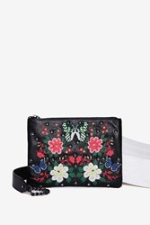 Nasty Gal Fuxury Leather Crossbody Bag Floral Multi