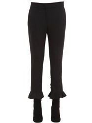 Msgm Cropped And Ruffled Compact Jersey Pants