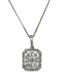 Macy's Diamond Square Cluster Pendant 9 10 Ct. T.W. In 14K White Gold