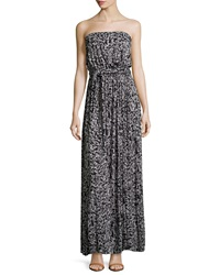 Rachel Pally Splatter Print Strapless Self Tie Maxi Dress Moonbeam