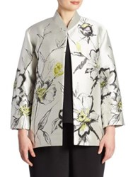Caroline Rose All In Bloom Floral Jacquard Jacket Iced Citron